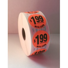 "$1.99 w/card - 1.375"" Red Label Roll"